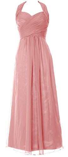 MACloth Women Halter Pleated Chiffon Long Prom Dress Wedding Party Formal Gown Blush Pink