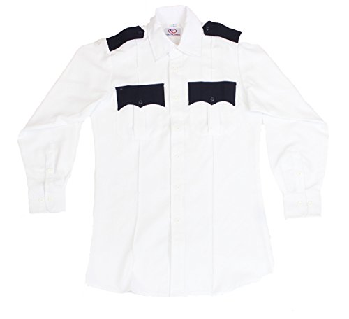 First Class Two Tone Long Sleeve Shirt-White & Navy Blue/XL (White Shirt Ton)