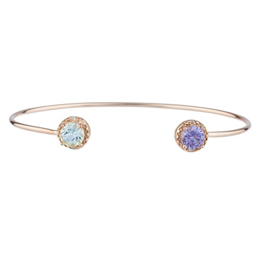 Elizabeth Jewelry Genuine Aquamarine & Created Alexandrite Diamond Bangle Bracelet 14Kt Rose Gold Plated Over .925 Sterling Silver Alexandrite White Gold Bracelets