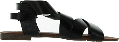Anna Kvinna Cutsy-1 Platta Mode Strappy Sandaler Svart