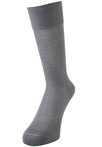 SUPERIOR Mens 100% Sea-island Cotton Business Dress Socks L Grey