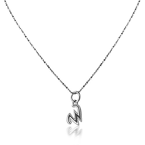 (PearlsNSilver Personalized Tiny Dainty Initial Necklace Charm 14K White Gold Over Sterling Silver (W 16