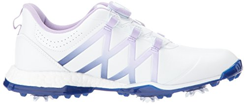 adidas Womens W Adipower Boost Boa Golf Shoe Ftwr White/Purple Glow Mystery Ink Fabric SMFT0