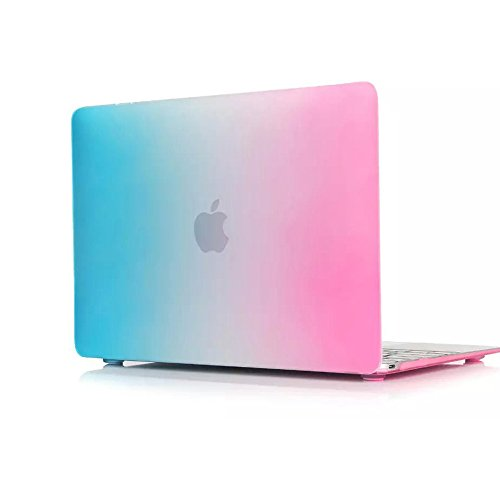 "Mycarryingcase Rainbow Rubberized Hard Case For 2015 Macbook Matte Shell Cover, 12"", Aqua Blue"