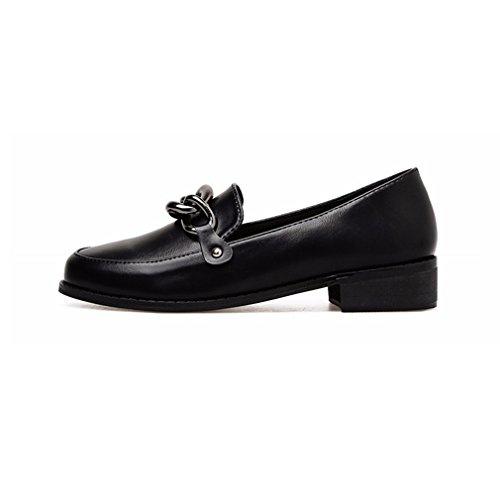 Giy Kvinners Klassiske Penny Loafers Slip-on Spenne Uformell Rund Tå Komfort Retro Kjole Oxford Sko Svart