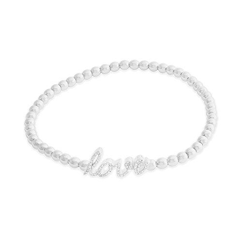 Sterling Silver & White Diamond 1/10 CTTW (IJ/I2I3) White Diamond Love Station Stretch Bracelet 7