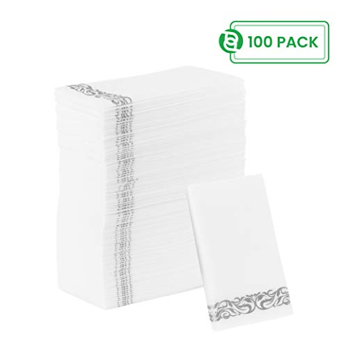 Party Bargains Disposable Linen-Feel Paper Guest Towels | Durable & Decorative Cloth-Like Soft Bathroom Hand Napkins for Dinner, Wedding or Cocktail Party | White & Silver 100 Count