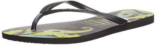 Havaianas Women's Slim Organic Flip Flop Sandals, Floral Design, Black/Grey, 39/40 BR (9-10 M US) - Havaianas Floral Flip Flops