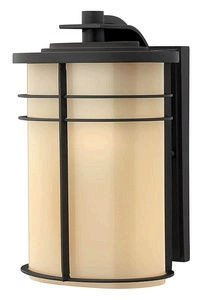 Museum Bronze Outdoor Sconce (Hinkley 1124MR-GU24 Ledgewood - One Light Medium Outdoor Wall Mount, Museum Bronze Finish with Champagne/Etched Glass)