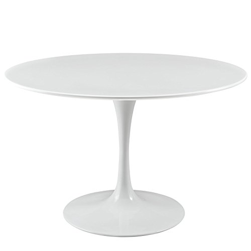 "Modway Lippa 47"" Mid-Century Modern Dining Table with Round Top and Pedestal Base in White"