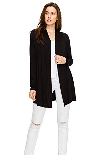 EttelLut Long Open Front Lightweight Soft Knit L/Sleeve Cardigans for Women Plus Size Black XXXL