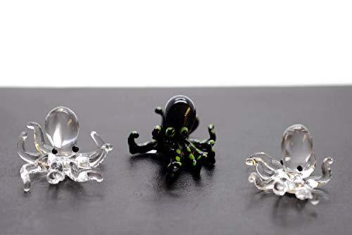 ChangThai Design 3 Pcs Aquarium Mini Octopus Black Green HandBowl Glass Dollhouse Miniatures Decoration Figurine Collection
