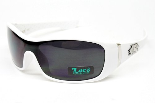 Locs Hardcore Gangster Biker Aviator Turbo Sunglasses Mens White - Biker Wholesale Sunglasses