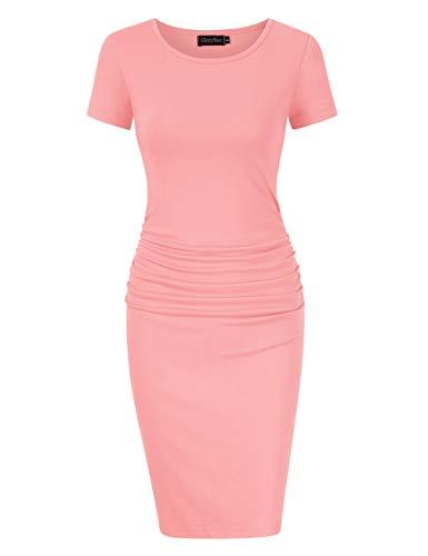 GloryStar Women's Sleeveless Short Sleeve Ruched Midi Bodycon Sheath Pencil T Shirt Dress (XL, Short Sleeve Peach)