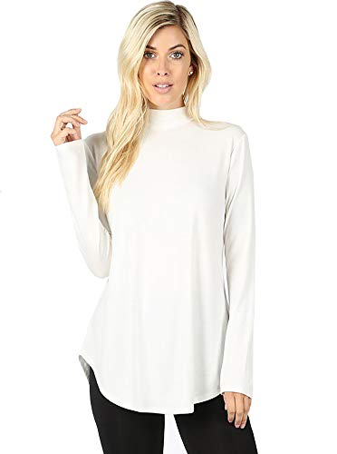Classic Cotton Mock Turtleneck - 12 Ami Basic Mock Neck Long Sleeve Casual Round Hem T-Shirt Top Ivory L