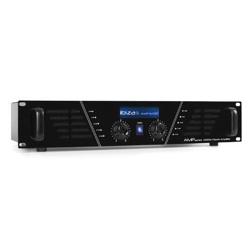 Ibiza AMP 600 - Ampli de sonorisation professionnel 2x 480 Watt (Technologie Mosfet, connexion par prise Speakon & RCA, voyant LED) - Noir
