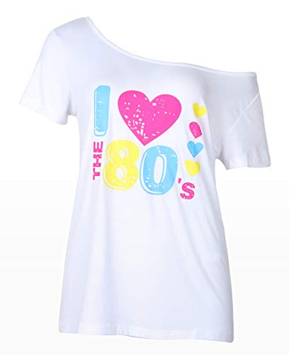 - Smile fish Women's I Love The 80's Off The Shoulder Tops 80s Costumes T Shirts (S, White) K007