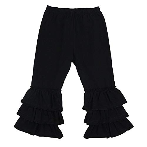 - Wennikids Baby/Toddler Girls Soft Knit Flare Pants with Triple Ruffles 1-6T Small Black01