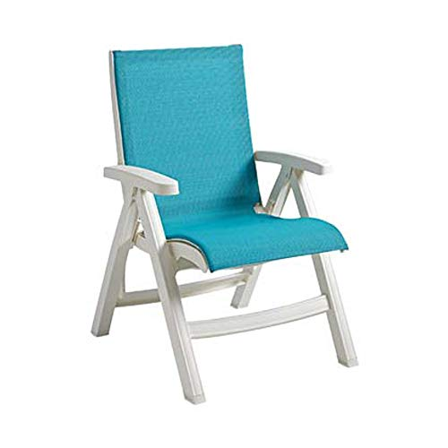 Grosfillex US241004 Belize Midback Folding Chair, Stackable, White Frame, Turquoise (Case of 2) by Grosfillex (Image #1)