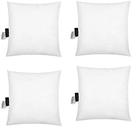 IZO All Supply 18 x18 Hypoallergenic Down Alternative with White Polyester Microfiber Cover – Decorative Pillow, Throw Pillow Inserts for Couch Sofa Cushion, Machine Washable 4 Pack