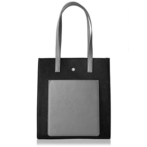 (The Lovely Tote Co. Women's Fashion Color Block Square Tote Shoulder Bag,One,Black)