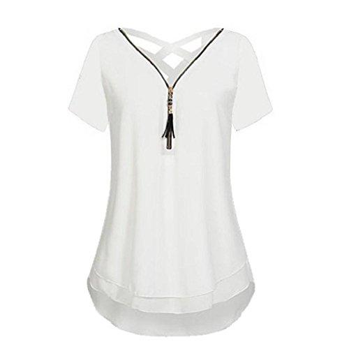 Frauen Weiß Bluse Sommer Reißverschluss shirt Shirt aushöhlen Rovinci Chiffon Tank Hemdbluse Ärmellos zurück Unterhemd T T Weste Elegant Tops V Damen Ausschnitt Vorne Unregelmäßigkeit wZ6Fq1