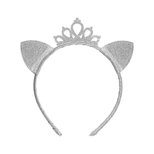 VIccoo Child Girls Princess Hollow Tiara Crown Headband Cute Pointed Cat Ear Glitter Metallic Sequin Hair Hoop Birthday Party Headpiece - 1#