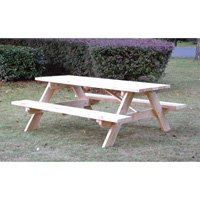 Rectangular Shaped Wooden Picnic Table - 72in.L x 60in.W x 27 1/2in.H Overall Size