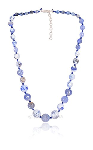 Chelcidony Blue Color Quartz Faceted Round Beads Necklace, Daily/Party/Office/Casual wear Jewelry for Girls/Women, Fashion Accessory, Gift Ideas, Wholesale Price, Exclusively by Ratnagarbha.