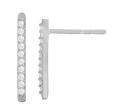Libertini Boucle d'oreille argent 925 serti de Diamant en forme de Bâton