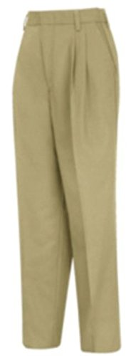 Red Kap PT39 Women's Pleated Twill Slacks Khaki 10W x Unhemmed