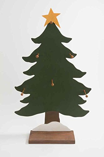 59cm Wooden Xmas Tree Display Stand With 6 Hanging Hooks Christmas