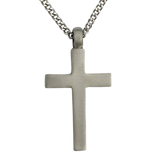 DragonWeave Pewter Plain Large Cross Pendant with Extra Large Bail, on Men's Heavy Curb Chain Necklace, 24