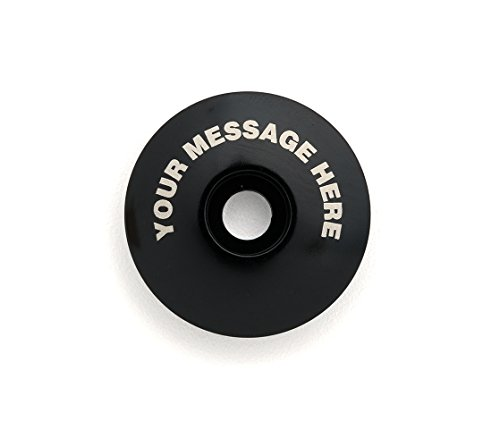 "KustomCaps Customizable ""Your Message Here"" 1 1/8"" Bicycle Headset Cap Black"