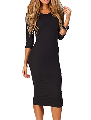 ICONOFLASH Women's Plus Size Black 3/4 Sleeve Bodycon Midi Dress – Crew Neck Fitted Dress 2X-Large