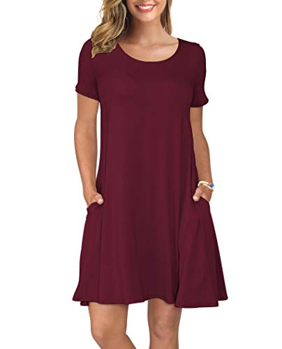 KORSIS Women's Summer Casual T Shirt Dresses Swing Dress WineRed L (Keep Money Safe)