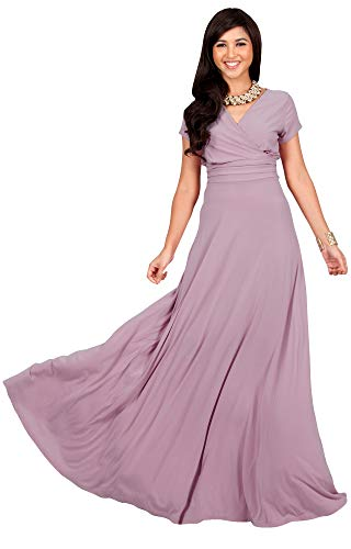 KOH KOH Plus Size Womens Long Cap Short Sleeve V-Neck Flowy Cocktail Slimming Summer Sexy Casual Formal Sun Sundress Work Cute Gown Gowns Maxi Dress Dresses, Dusty Pink 4XL 26-28 for $<!--$49.95-->