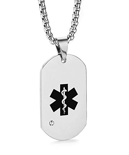JF.JEWELRY Customize Stainless Steel Cubic Zirconia Medical Alert ID Dog Tag Pendant Necklace for Women-Silver