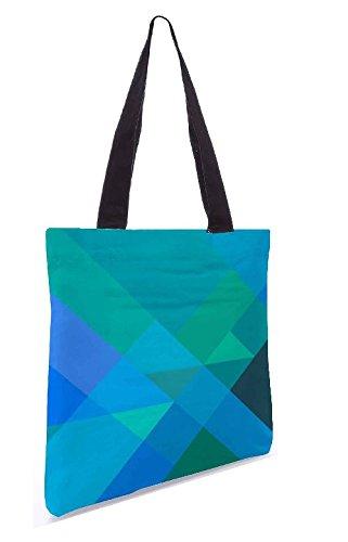 Snoogg Blau Rauten 13.5 x 15 Zoll-Shopping-Dienstprogramm-Einkaufstasche aus Polyester-Segeltuch gemacht