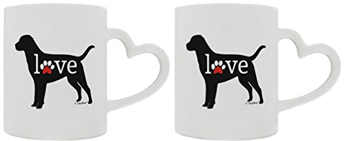 Labrador Retriever Gifts Love Dog Paw Prints Dog Owner Gifts Lab Dog Lover 2 Pack Heart Handle Gift Coffee Mugs Tea Cups Heart ()