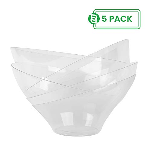 - Party Bargain Angled Plastic Bowls | Heavy-duty Premium Quality Small Serving Bowl | Excellent for Weddings, Baby & Bridal Showers, Parties & More | Clear (5 Pack)
