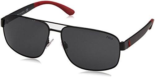 Polo Ralph Lauren Men's Metal Man Sunglass Aviator, MATTE BLACK, 62 mm ()