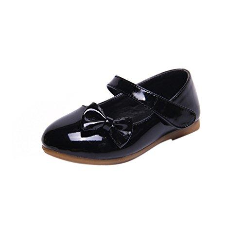 Maxu Spring Autumn PU Girls Dressy Mary Jane Flats,Black,8.5M US Toddler (Girls Black Shoes Mary Jane)