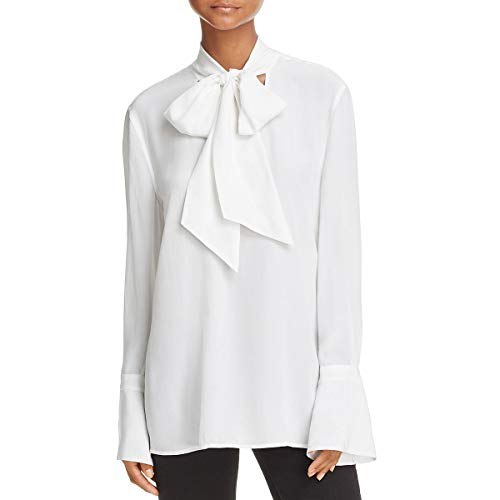 Equipment Femme Womens Jacqueleen Bell Sleeves Neck Tie Blou