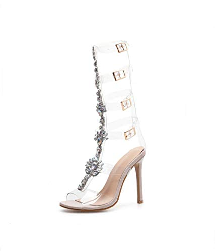 Jin Shoes Rhinestone high Heel Sandals Female Transparencies Belt Buckle Hollow Sandals Flower Shiny Rhinestones Large Size Women's Shoes Rome - Transparency Summer