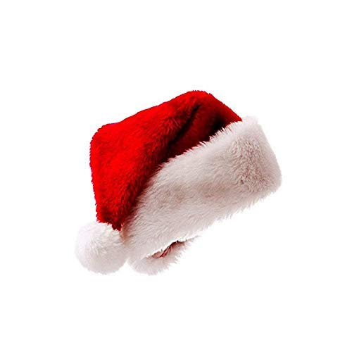 Plush Santa Hat Christmas Santa Claus Hats for Christmas Party Celebration, Luxury Xmas Plush Santa Claus Cap for Adults (1 pcs for Adults)
