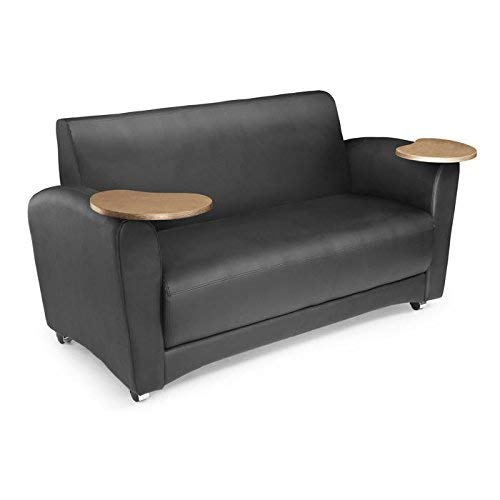 OFM InterPlay Series Upholstered Guest / Reception Sofa, Black, Bronze Tablet