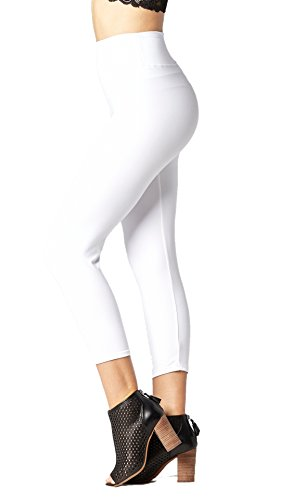 Premium Ultra Soft High Waist Leggings for Women - SL3 Capri Pure White - Small/Medium