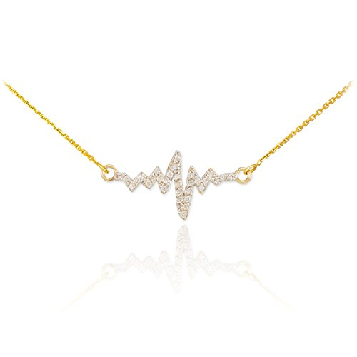 14 ct 585/1000 Or Heartbeat-Diamant-Collier