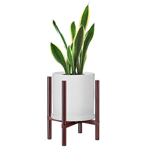 Mid Century Plant Stand Solid Wood Flower Pot Stand Indoor Plant Holder Best Fits 10'' Planter (Plant and Pot NOT Included),Brown (Plant Stand Indoor Wood)